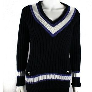 Chanel Sweater - Spring Cotton Navy Blue V Neck